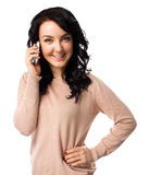 Beautiful woman talking on her cell phone Stock Photo