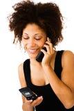 Beautiful woman talking on mobile Royalty Free Stock Photos