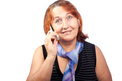 Beautiful woman talking on a mobile phone Royalty Free Stock Photos