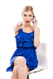 Beautiful woman talking by phone Royalty Free Stock Image