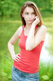 Beautiful woman talks by mobile Stock Photos