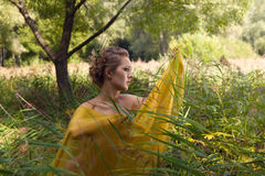 Beautiful woman  in the tall grass Stock Images