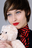 beautiful woman with teddy bear Stock Photo