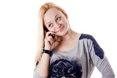 Beautiful woman with telephone Royalty Free Stock Image