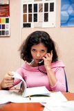 Beautiful woman with telephone Royalty Free Stock Photo