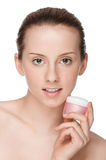 Beautiful woman tender jar of cream Royalty Free Stock Photos