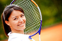 Beautiful woman at tennis Royalty Free Stock Photo
