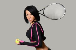 Beautiful woman with tennis racket Stock Photo
