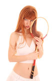 Beautiful woman with tennis racket isolated Stock Photography