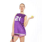 Beautiful woman with a tennis racquet. Royalty Free Stock Photography