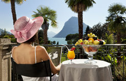 Beautiful woman on the terrace Royalty Free Stock Image