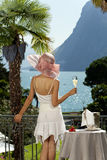 Beautiful woman on the terrace Royalty Free Stock Images