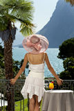 Beautiful woman on the terrace Royalty Free Stock Photos