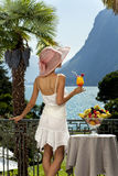 Beautiful woman on the terrace Stock Images