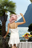 Beautiful woman on the terrace Stock Photography
