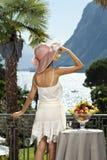 Beautiful woman on the terrace Stock Image