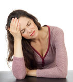 Beautiful woman with terrible headache royalty free stock images