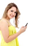 Beautiful woman texting Royalty Free Stock Images