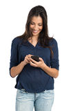 Beautiful Woman Texting With Phone Stock Image