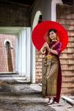 Beautiful Woman with Thai Traditional Dress King Rama 1 Stock Photography