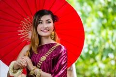 Beautiful Woman with Thai Traditional Dress King Rama 1 Royalty Free Stock Photo
