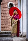 Beautiful Woman with Thai Traditional Dress King Rama 1 Royalty Free Stock Photography