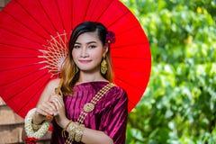 Beautiful Woman with Thai Traditional Dress King Rama 1 Stock Image