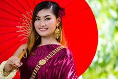 Beautiful Woman with Thai Traditional Dress King Rama 1 Stock Photo