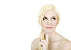 Beautiful woman thinking Royalty Free Stock Images