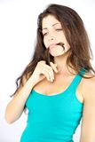 Beautiful woman thinking with hair in mouth funny Royalty Free Stock Photos