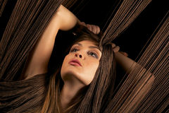 Beautiful woman with threads Royalty Free Stock Photography