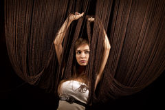 Beautiful woman with threads Royalty Free Stock Images