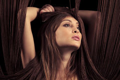 Beautiful woman with threads Stock Photography