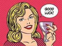 Beautiful woman toast glass wine good luck Royalty Free Stock Photos