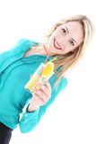 Beautiful woman toasting her tropical vacation Stock Photography