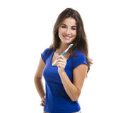 Beautiful woman with a toothbrush Royalty Free Stock Photo