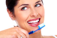 Beautiful woman with toothbrush. Royalty Free Stock Image