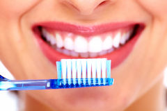 Beautiful woman with toothbrush. royalty free stock photos