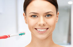 Beautiful woman with toothbrush Royalty Free Stock Image