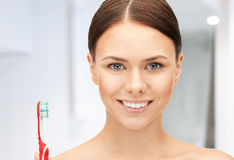 Beautiful woman with toothbrush Stock Photo