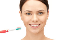 Beautiful woman with toothbrush Stock Image