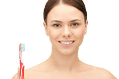 Beautiful woman with toothbrush Royalty Free Stock Images