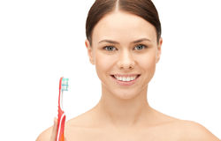 Beautiful woman with toothbrush Royalty Free Stock Photo