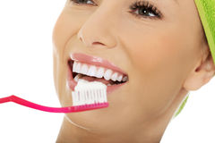 Beautiful woman with toothbrush. Royalty Free Stock Images