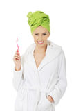 Beautiful woman with toothbrush. Stock Photos
