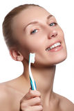 Beautiful woman with toothbrush. Dental care background. Closeup Stock Photo