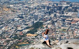 Beautiful woman on the top of Table Mountain Royalty Free Stock Images