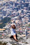 Beautiful woman on the top of Table Mountain Stock Photos