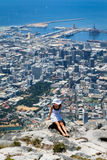 Beautiful woman on the top of Table Mountain Royalty Free Stock Photography