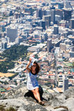 Beautiful woman on the top of Table Mountain Stock Photography